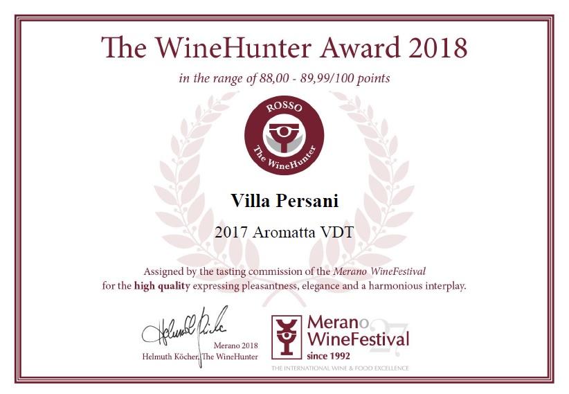 Medaglia Rossa per Aromatta 2017 - Merano Wine Festival